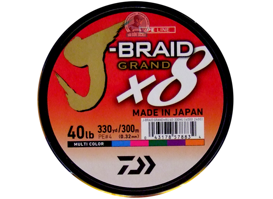DAIWA J BRAID 40LB - 300M MULTI COLOR