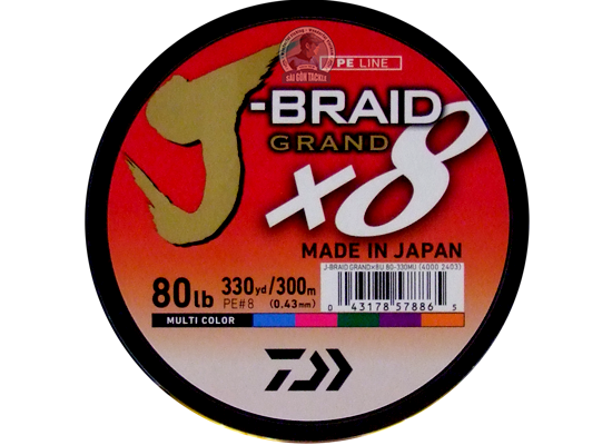 DAIWA J BRAID 80LB - 300M MULTI COLOR